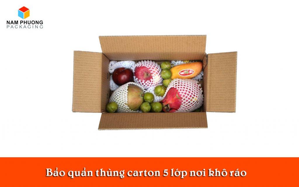 Bảo quản thùng carton 5 lớp nơi khô ráo