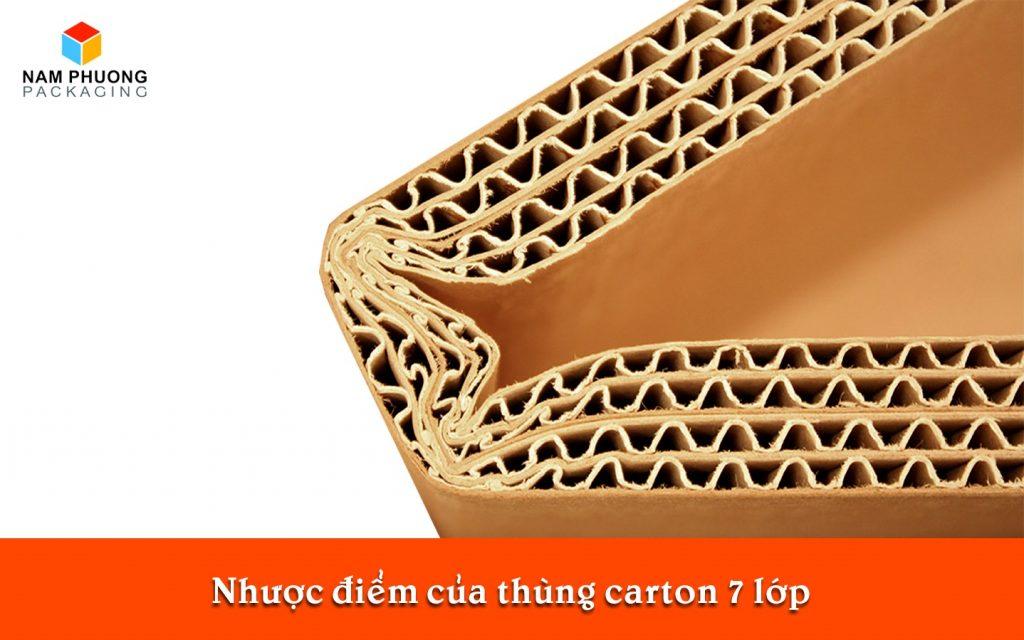 Nhược điểm của thùng carton 7 lớp