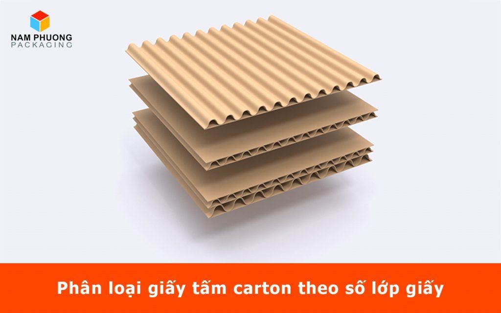 Phân loại giấy tấm carton theo số lớp giấy